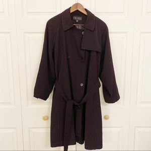 Gallery Deep Purple Trench Coat w/ Belt & Pockets